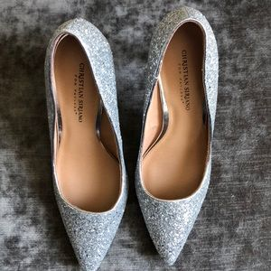 Silver Sequined Closed Toe High heel.